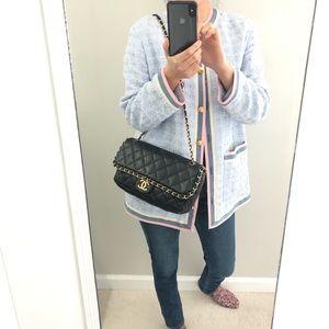 Auth Chanel Lambskin  flap shoulder bag